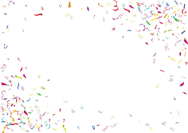 Abstract colorful confetti background. Isolated on the white background. Abstract colorful flying confetti background. Isolated on the white background. Vector holiday illustration. birthday borders stock illustrations