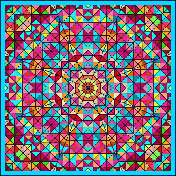 Abstrakte bunte digitale dekorative Blume. Geometrische Kontrast Linie Stern und blau rosa rot Cyan Farbe künstlerische Stern Hintergrund – Vektorgrafik