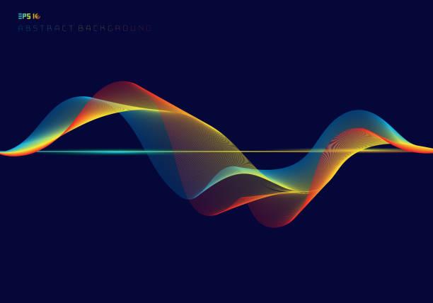 bildbanksillustrationer, clip art samt tecknat material och ikoner med abstrakta färgstarka digital equalizer påfyllnadsrader på mörkblå bakgrund teknik koncept - spektrum