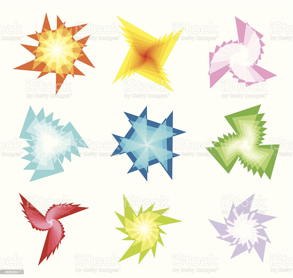 abstract colorful fractal shape vector art illustration