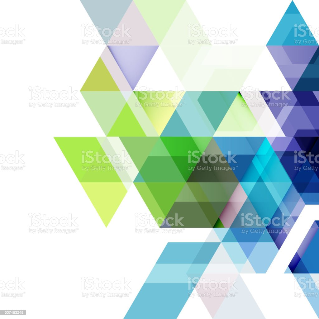 Abstract colorful geometric and modern overlapping triangles on white vector art illustration