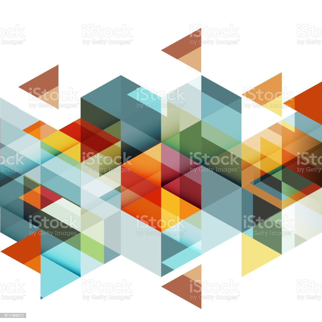 Abstract colorful geometric and modern overlapping triangles on white. vector art illustration