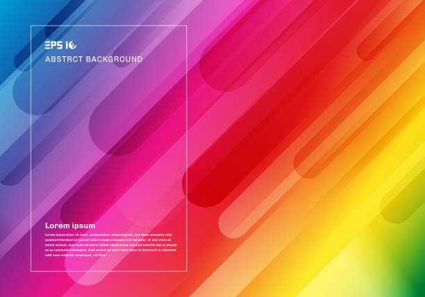 abstract colorful geometric background and dynamic shapes fluid motion composition - tęcza stock illustrations