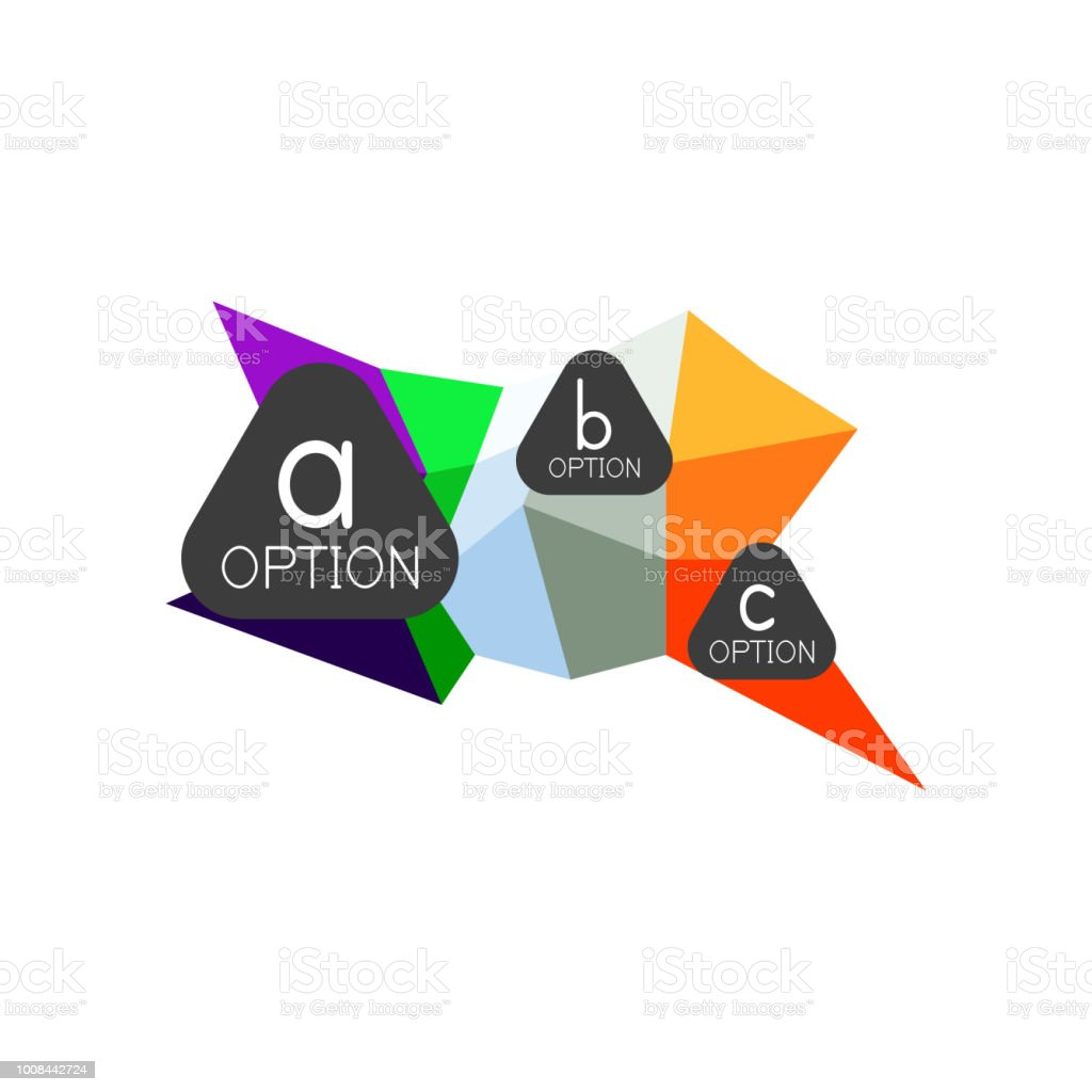 Abstract Colorful Geometric Option Infographics Design Template With Sample Abc Options Background For Business