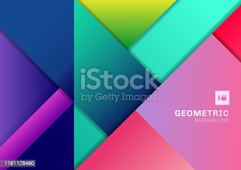 Abstract colorful geometric shape overlapping 3D dimension background. Template modern flat material vibrant color. Vector illustration