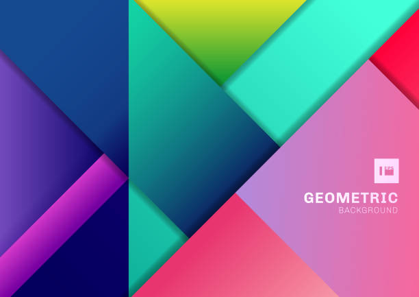 Abstract colorful geometric shape overlapping 3D dimension background. Template modern flat material vibrant color. - illustrazione arte vettoriale