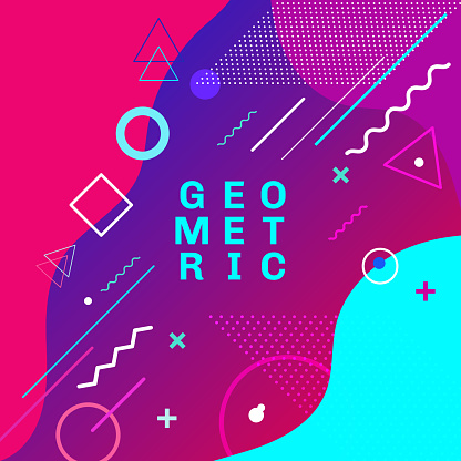 Abstract colorful geometric shapes and forms trendy fashion memphis style card design background. You can use for poster, brochure, layout, template or presentation.