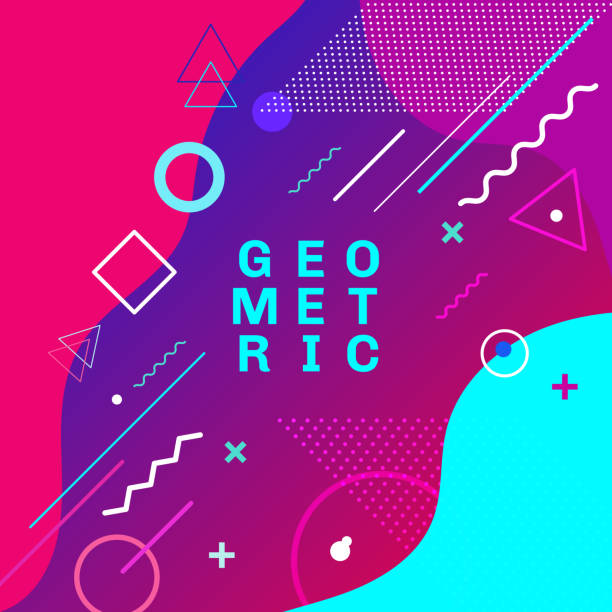 abstract colorful geometric shapes and forms trendy fashion memphis style card design background. you can use for poster, brochure, layout, template or presentation. - fashion stock illustrations