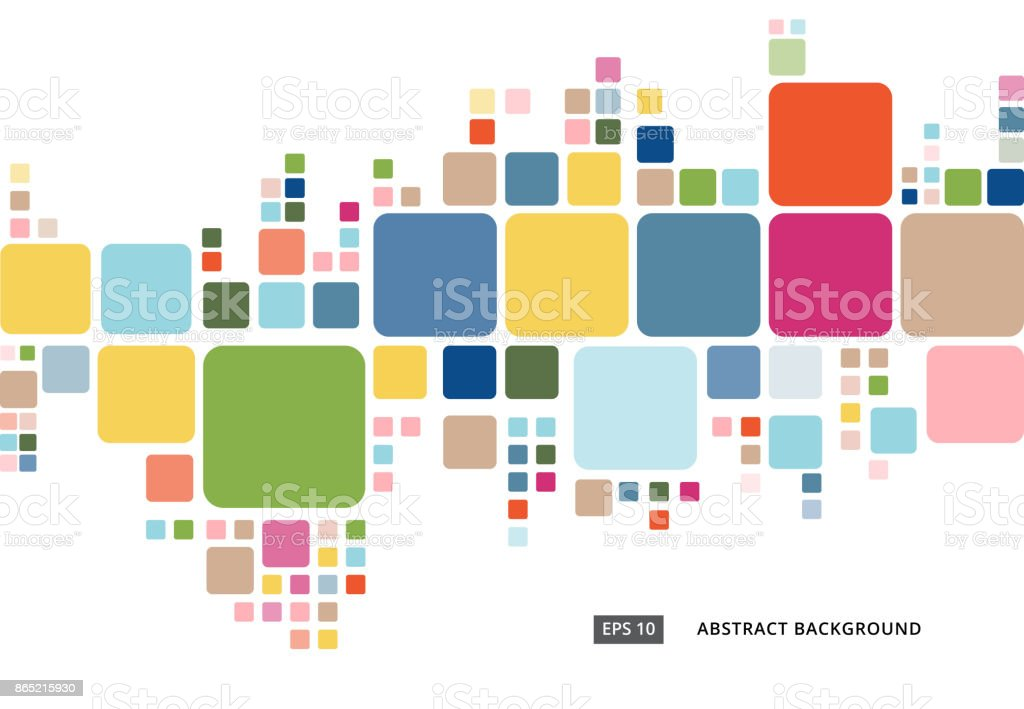 Abstract colorful geometric square border pattern on white background