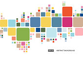 istock Abstract colorful geometric square border pattern on white background 865215930