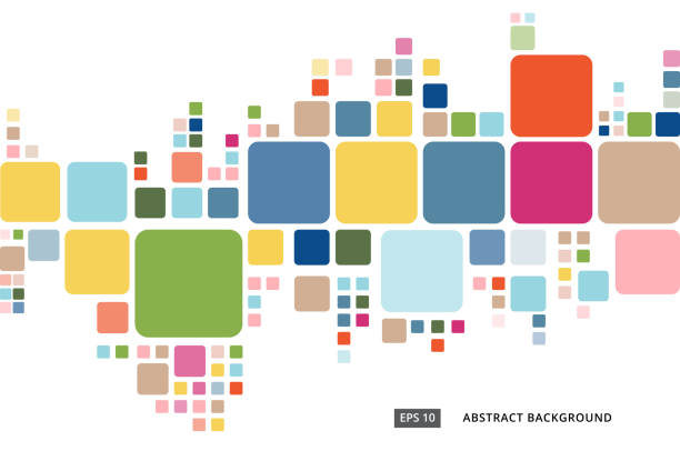 ilustrações de stock, clip art, desenhos animados e ícones de abstract colorful geometric square border pattern on white background - curva forma