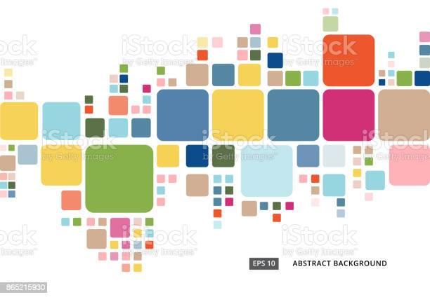 Abstract Colorful Geometric Square Border Pattern On White Background - Arte vetorial de stock e mais imagens de Abstrato