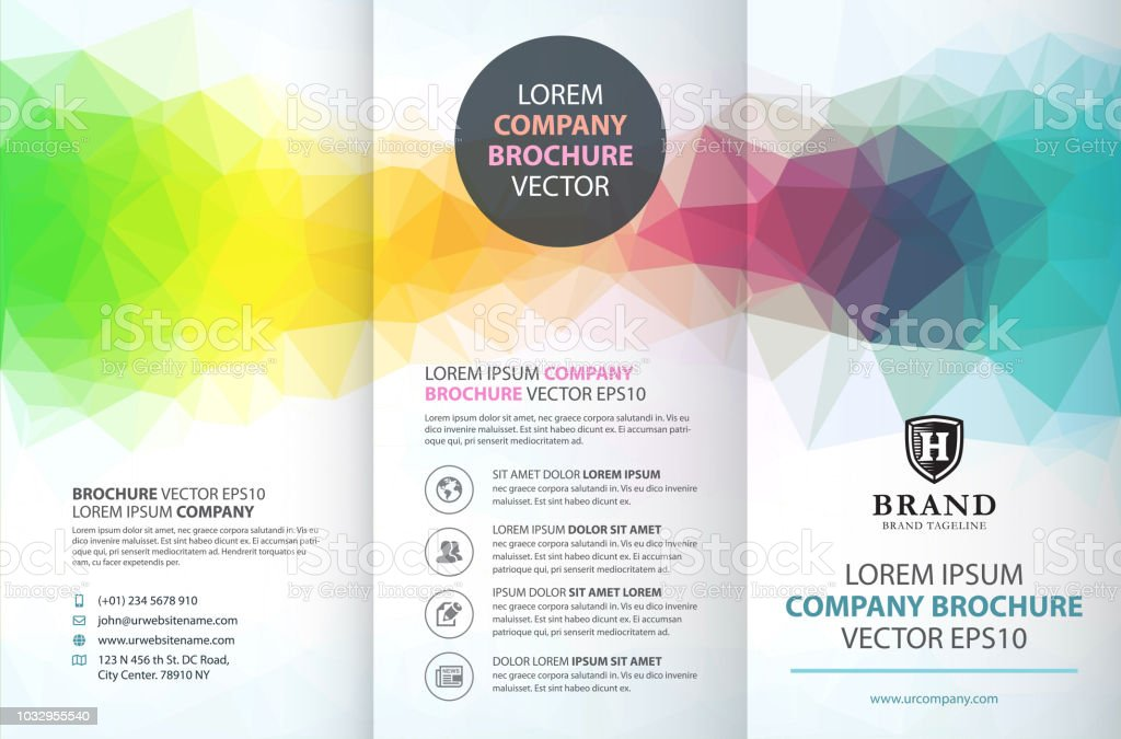 abstract colorful geometric trifold brochure design template stock