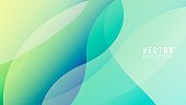 Abstract Colorful gradation with geometric shape background, Fluttering curves overlap on a pastel green background , Modern background design for presentation, illustration Vector EPS 10