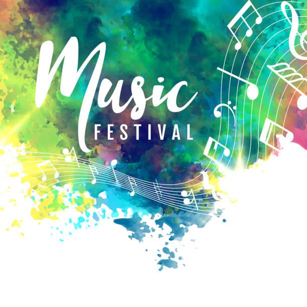 abstract colorful grunge style musical background - muzyka stock illustrations