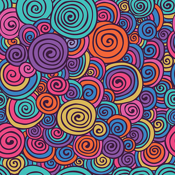 Abstract Colorful Hand Sketched Swirls Seamless Background Pattern Abstract Colorful Hand Sketched Swirls Circles Seamless Background Pattern. Vector Illustration. Pattern Swatch. Hand Drawn Scribble Wavy Texture funky stock illustrations