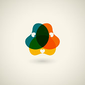 abstract colorful floral icon for design