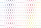 Abstract colorful hexagons seamless pattern on white background and texture. Hexagonal lines net with dots in the cross points. Vector illustration