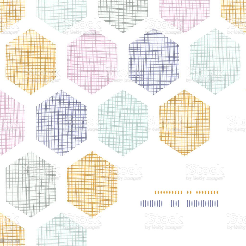 Abstract colorful honeycomb fabric textured frame corner pattern background royalty-free abstract colorful honeycomb fabric textured frame corner pattern background stock vector art & more images of no people