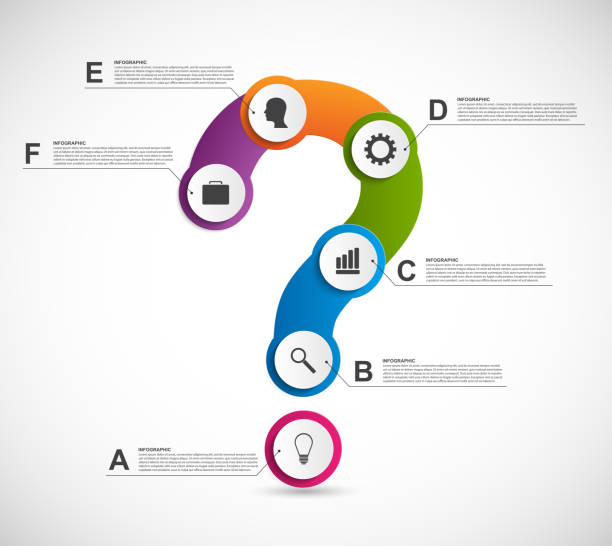 Abstract colorful infographic in the form of question mark. vector art illustration