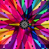 istock Abstract colorful kaleidoscope vector background on black. 927530406