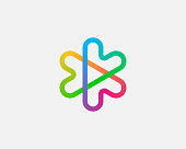 Abstract colorful linear logo icon design abstract modern minimal gradient style illustration. Hearts arrows plus play star vector emblem sign symbol mark logotype.