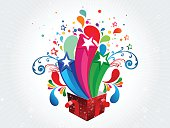 Abstract colorful magic box vector illustration