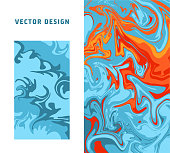 Abstract colorful minimal artistic neon vector background. Turkish Paper Marbling or Ebru Art Technique. Beautiful marbled texture in blue and orange colors for poster, print or cover design