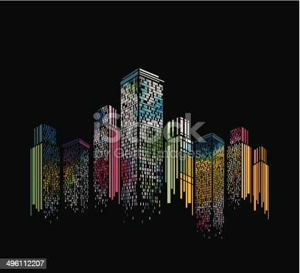 abstract colorful modern building pattern with black background for design
