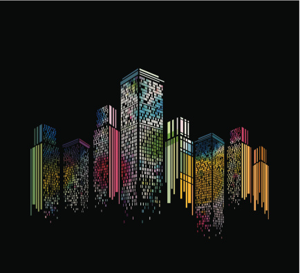abstract colorful modern building pattern with black background