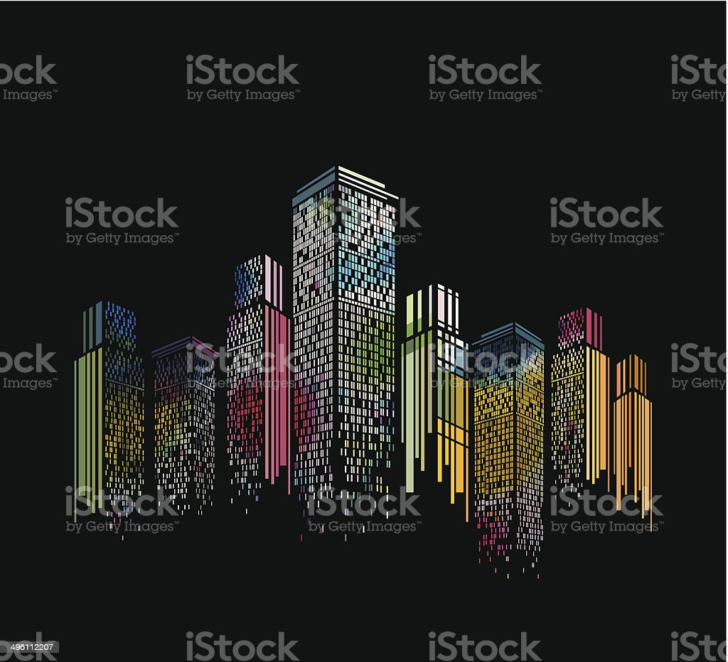 abstract colorful modern building pattern with black background vector art illustration