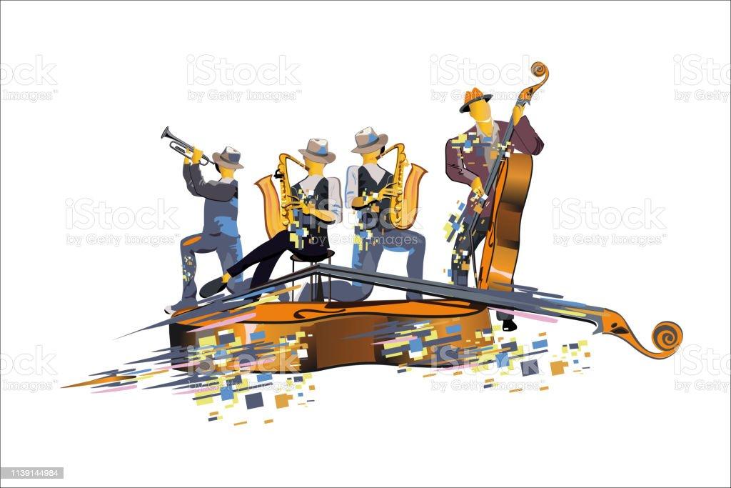 Abstract Bunte Musiker Bei Der Party Jazzband Stock Vektor