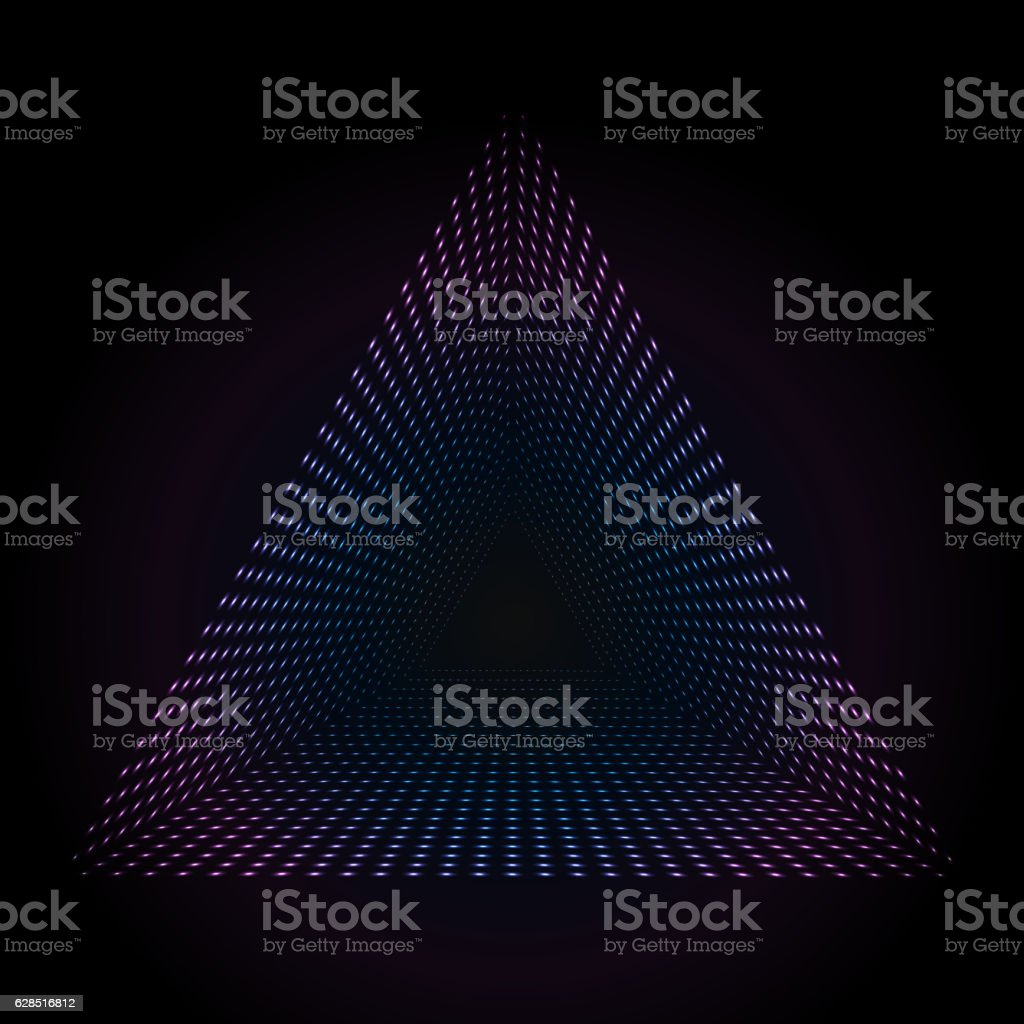 Abstract colorful neon dots, dotted technology background. Glowing particles, led vector art illustration