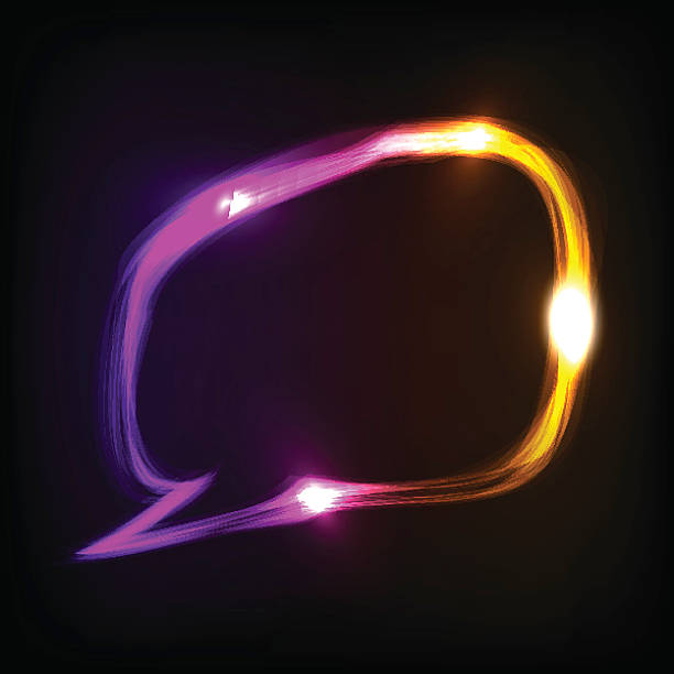 Abstract colorful neon speech bubble vector art illustration