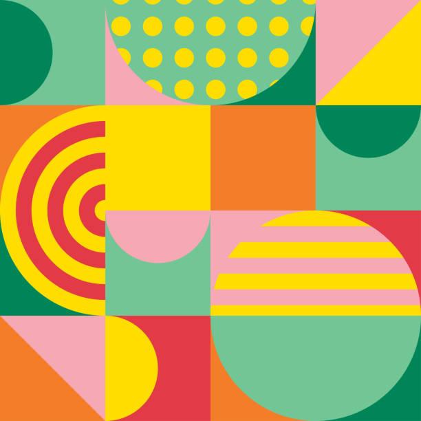 기하학적 인 도형 패턴의 화려한 추상화 합니다. 포스터와 표지 템플릿 배경 텍스처 유행 디자인. 벡터 일러스트 레이 션 - 모던 양식 stock illustrations