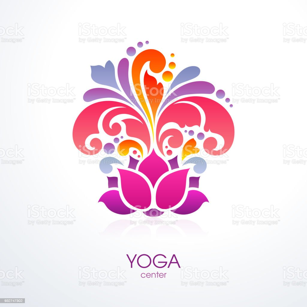 Abstract Colorful Ornate Splash Yoga Background Decorative Lotus