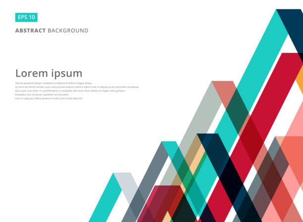 Resumen patrón de triángulo de superposición de colores sobre fondo blanco con espacio de copia - ilustración de arte vectorial