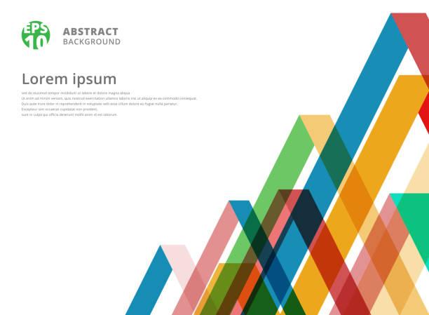 stockillustraties, clipart, cartoons en iconen met abstract kleurrijk overlapping driehoek patroon op witte achtergrond met kopie ruimte - gekanteld