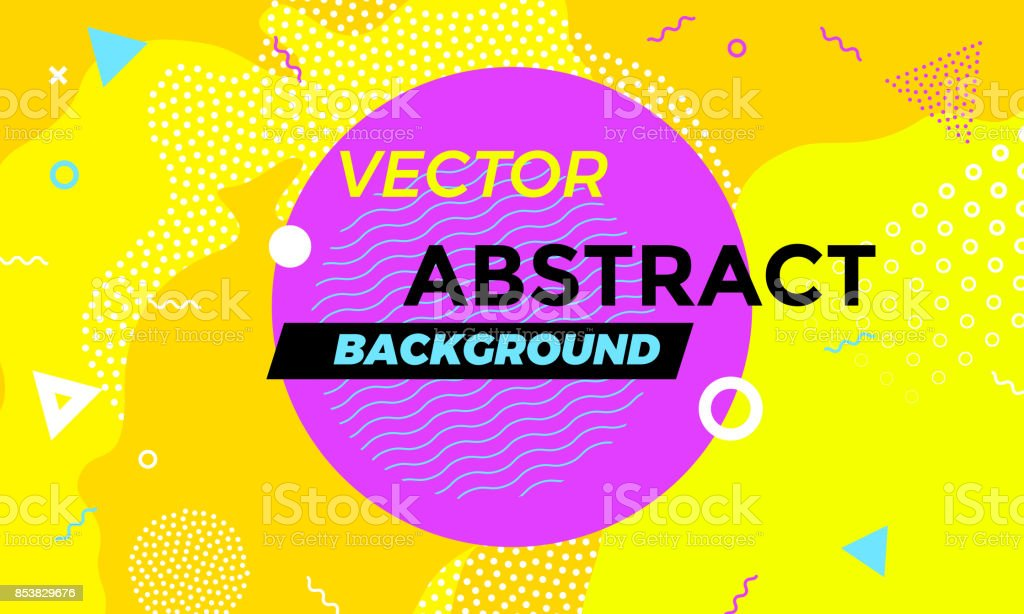 Abstract colorful playful banner background with fun texture design element. Vector overlay orange pattern with white geometric forms with line and dots in trendy graphic. vector art illustration