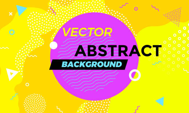 abstract colorful playful banner background with fun texture design element. vector overlay orange pattern with white geometric forms with line and dots in trendy graphic. - school backgrounds stock illustrations, clip art, cartoons, & icons