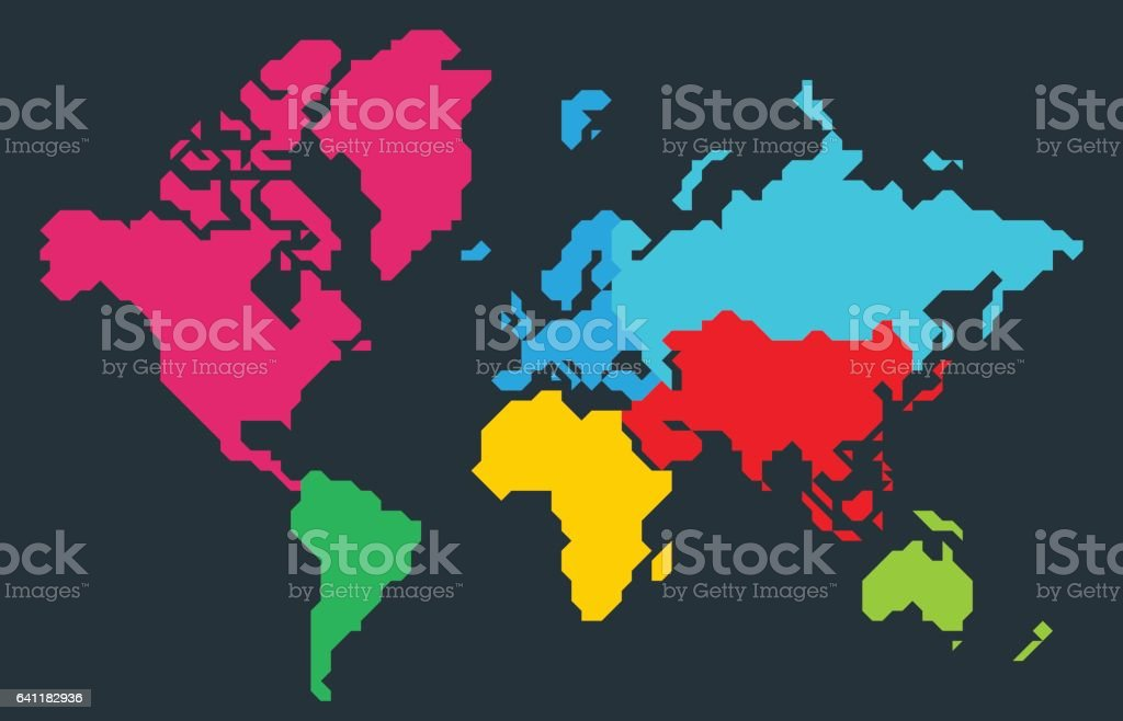 Abstract colorful polygonal world map vector art illustration