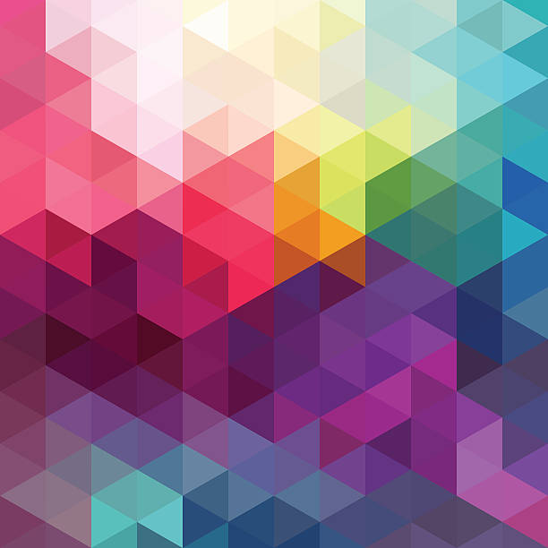 Abstract colorful seamless pattern background Abstract colorful geometric seamless pattern background with triangles and polygons shapes. Ideal for web and app template, book cover, fabric and gift wrap design. two dimensional shape stock illustrations