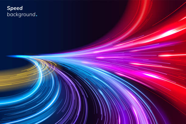 abstract colorful speed background with lines - motion stock illustrations