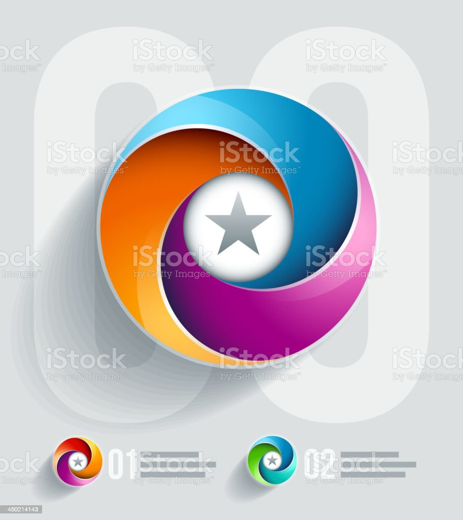 Abstract colorful spiral icons with stars in the centers vector art illustration