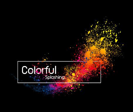 Abstract colorful splashing design on black background vector illustration