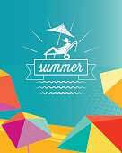 abstract colorful summer beach poster with parasols and travel symbol