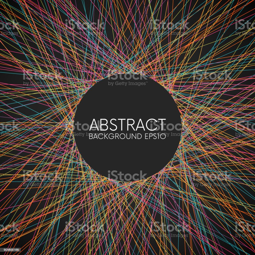 Abstract colorful thin lines background vector art illustration