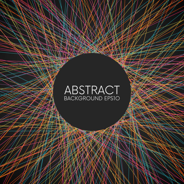 Abstract colorful thin lines background Abstract colorful random thin lines on dark background crisscross stock illustrations