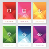 abstract colorful user interface template set collection labels in geometric triangular pattern with trendy white thin line design element icon symbols. Red, pink, golden, green, blue and purple color shades.