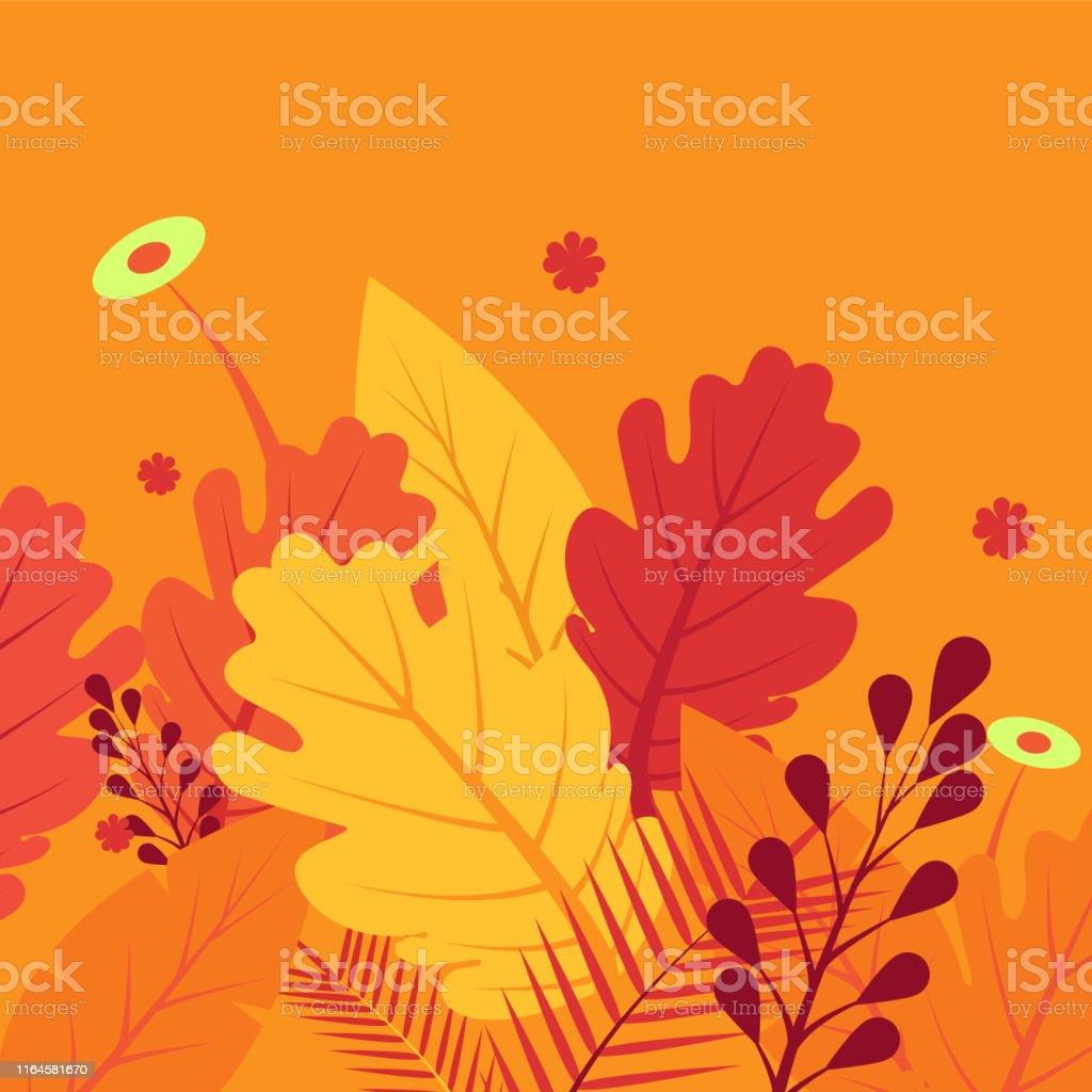 Abstract colorful vector autumn or fall background in red orange...